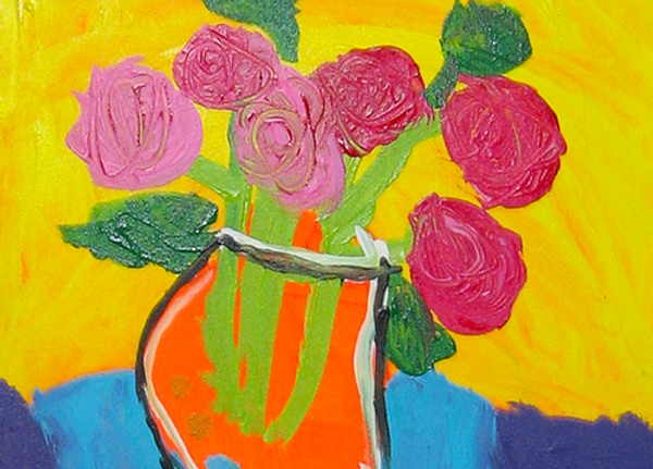 Acrylic painting masterpiece of red flowers in an orange vase is more than a craft, it's a fine art masterpiece to treasure