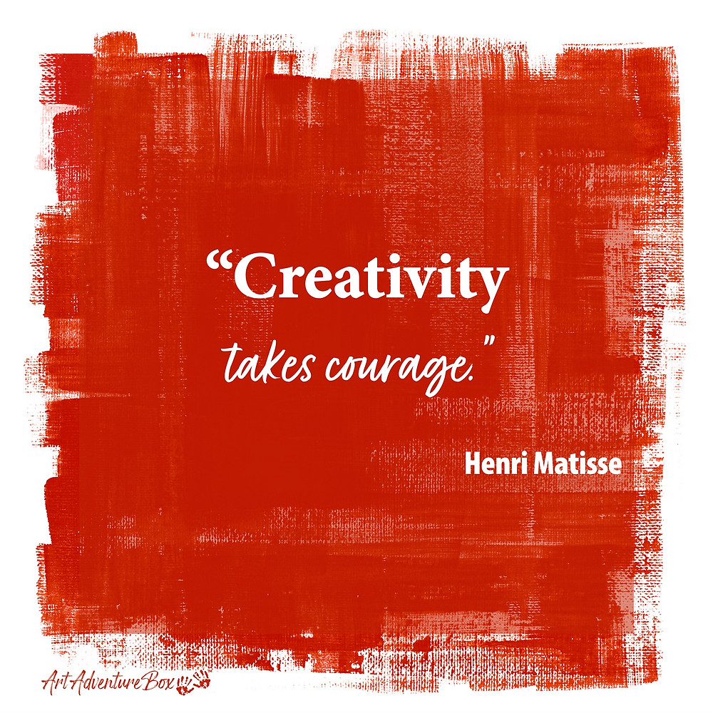 Creativity takes courage quote by Henri Matisse on red background