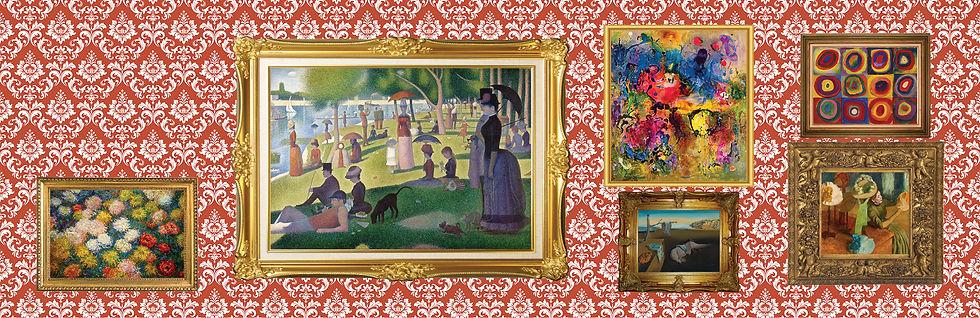 framed fine art images for art appreciation by Monet, Seurat, Dali, Deakin, Kandinsky and Degas in gallery format
