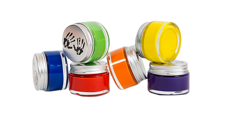 Art Adventure Box's premium, acrylic paints in recyclable glass paint pots make it possible to be creative and Earth-friendly