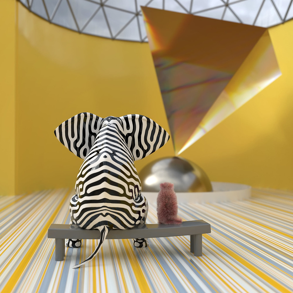 Black and white zebra-stripe painted elephant sitting on a bench next to a cat connecting with art while looking at an artsy display.