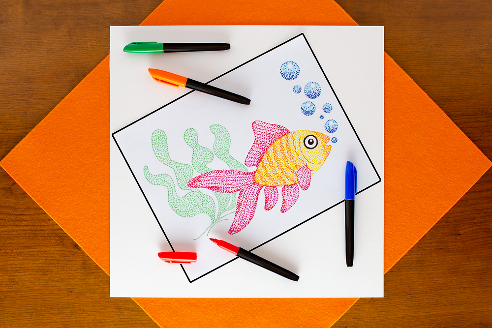 step 6 of Pointillist Marker Art Craft with fish outline, red, blue, orange, and green markers with many dots for blending
