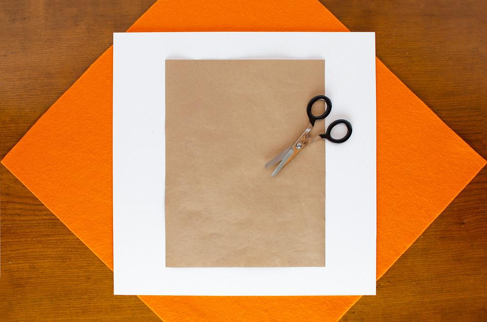 Cave Art Craft step 1 with kraft paper, scissors