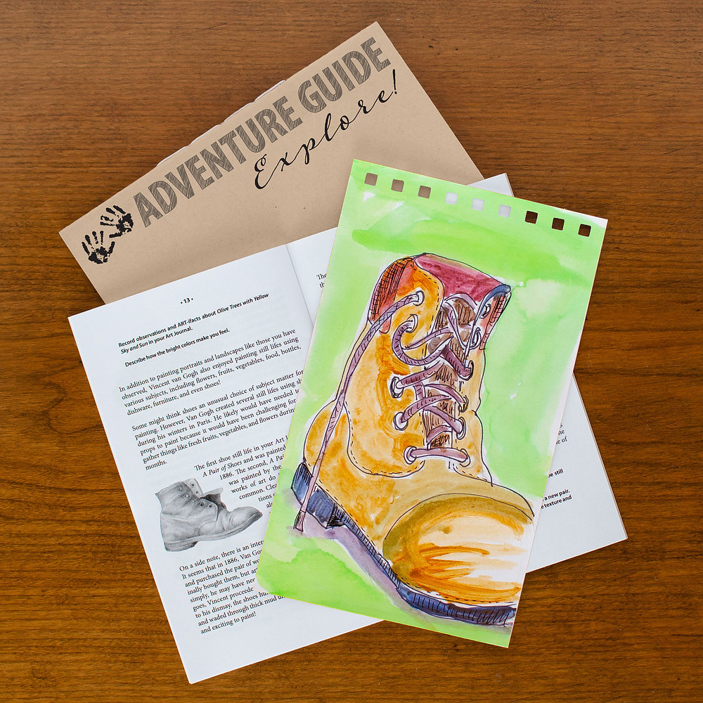 The Art Adventure Guide found in Mind 'n' Muse Art Boxes is full of artsy information sure to spark creativity and ignite artsy