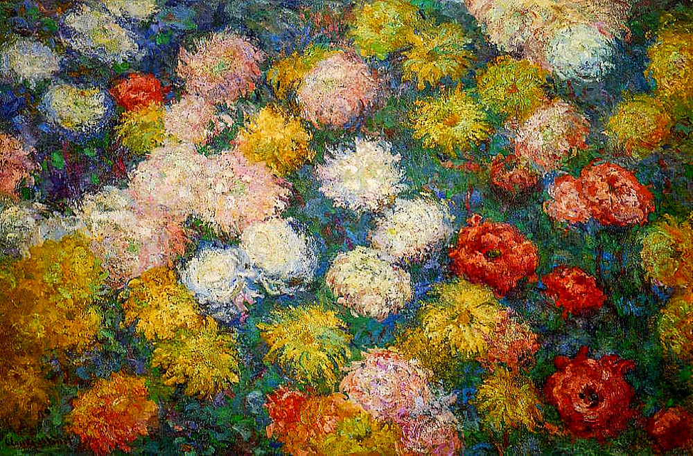 Chrysanthemums by Monet as inspiration for Paper Art Chrysanthemeums craft