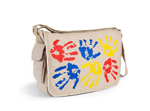 Celebrate a hands-on approach to art with a hipster messenger bag that's a neutral putty color with fun, colored hand prints