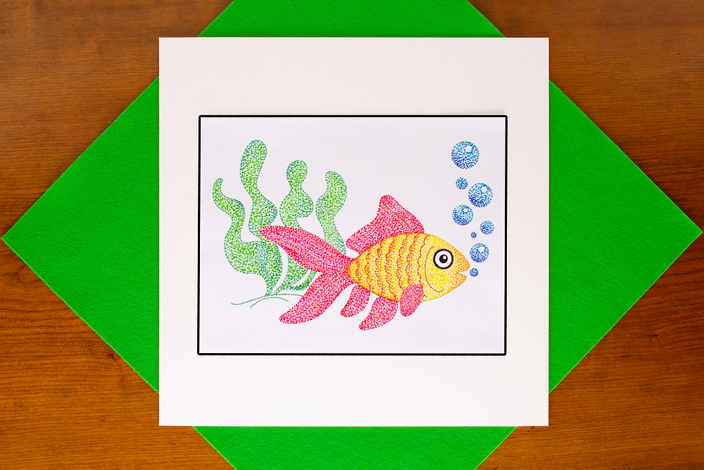 Pointillist style fish created with colorful markers using the Pointillist Marker Art Craft