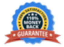 red, yellow, and blue badge icon for 100% satisfaction guarantee or 110% money back