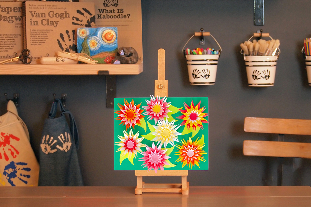 Paper Art Chrysanthemums finished craft on easel in Art to Know with MommyO vlog set