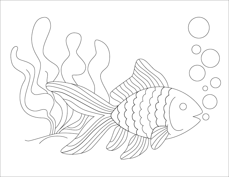 line drawing of fish with bubbles to create Pointillist Marker Art Craft