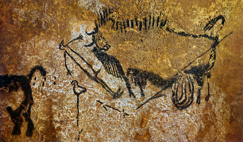 Bird-Headed Man with a Bison as inspiration for Cave Art Craft