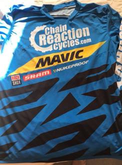 Signed race shirt from uk and world downhill mtb rider Michael jones.
