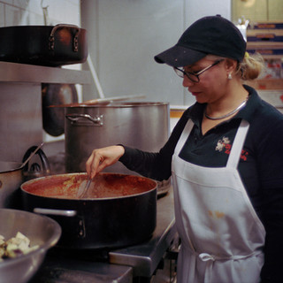 Maria one of the employees at Di Palo's prepares pasta on Feb. 13, 2016 Little Italy, New York