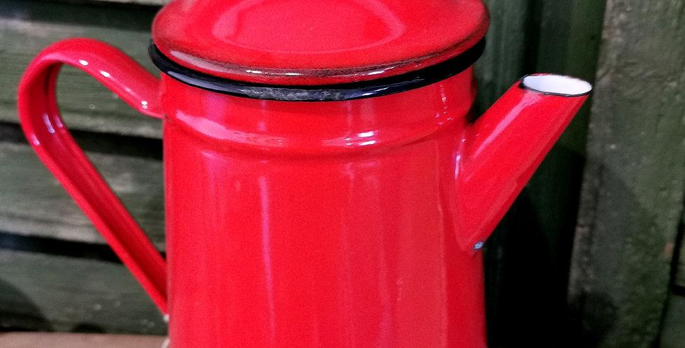 RED ENAMEL COFFEE POT