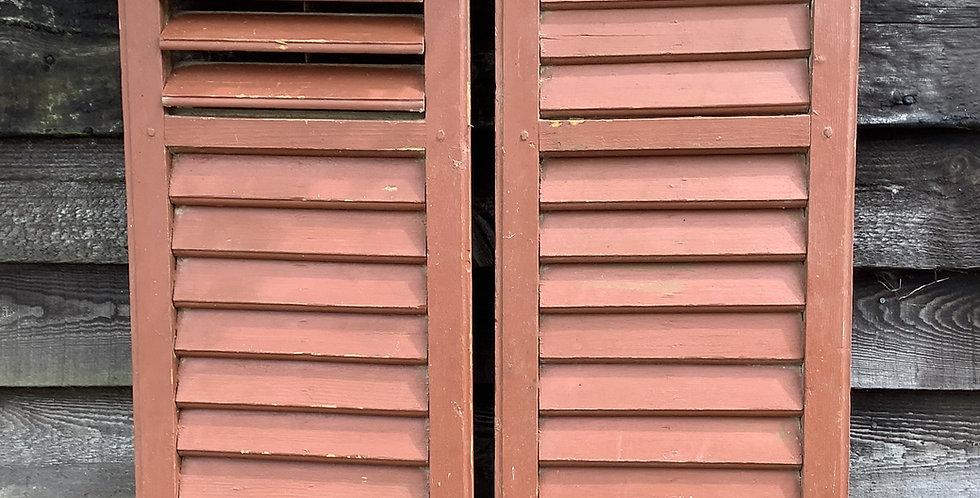 PAIR OF BROWN PAINTED  WINDOW  SHUTTERS A37