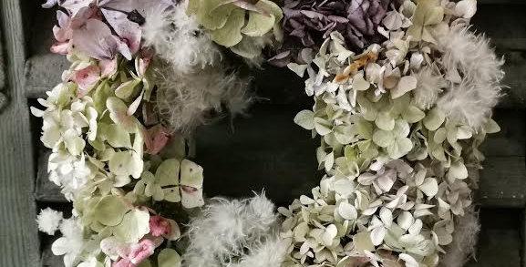 Small dried Hydrangea Wreath.