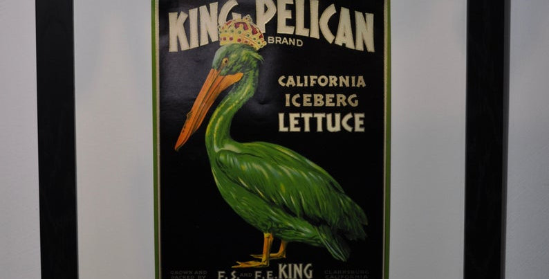 THE KING PELICAN LETTUCE CRATE LABEL