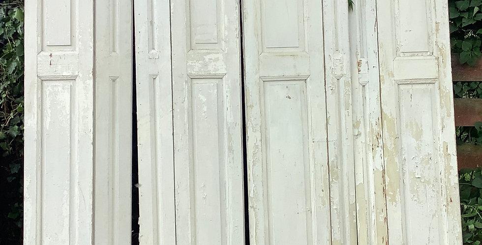 2 x ANTIQUE BI-FOLD FRENCH WINDOW SHUTTERS