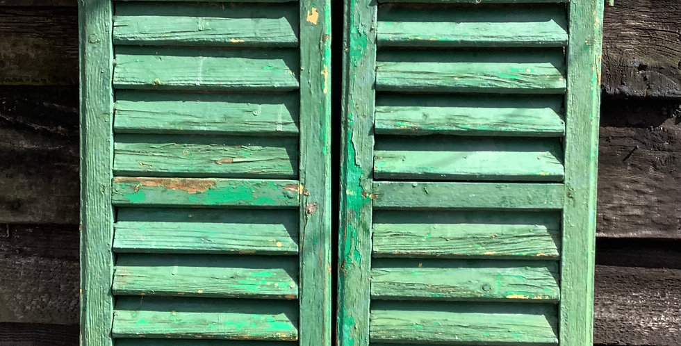 PAIR OF GREEN WINDOW  SHUTTERS A15