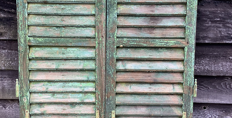 PAIR OF GREEN WINDOW  SHUTTERS A14