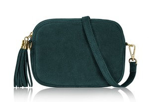 Dark Teal Soft Suede Tassel Bag