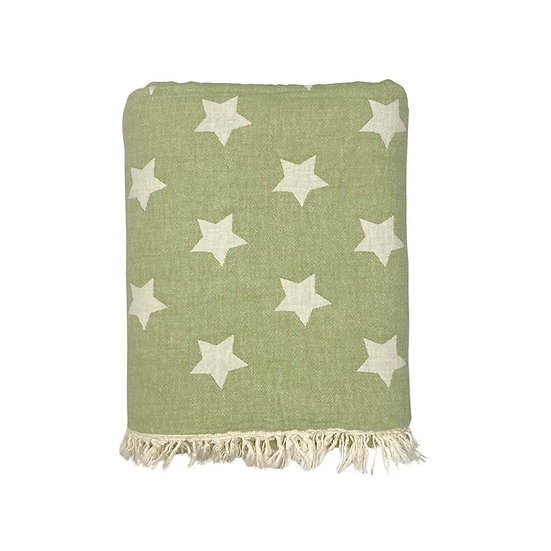Chive Star Soft Cotton Fleece Lined Throw