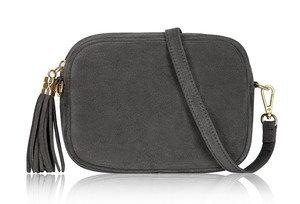 Dark Grey Soft Suede Tassel Bag