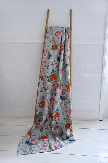 Pure Cotton Kantha Throw - Blue Floral