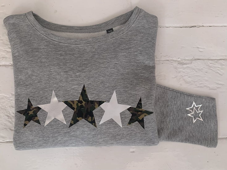 Grey Soft Slouch Top Silver/Camo Stars