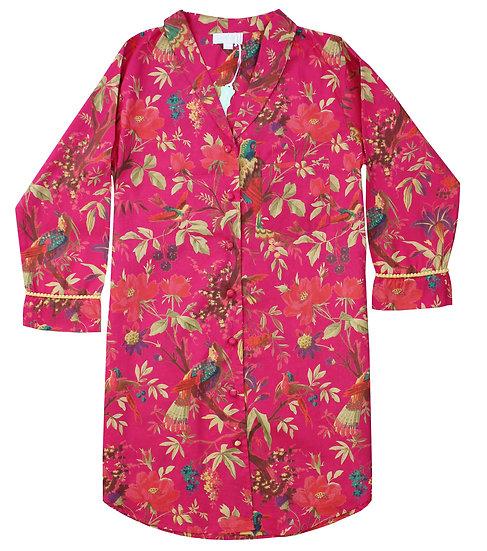 Pure Cotton Nightshirt in Hot Pink Bird Print
