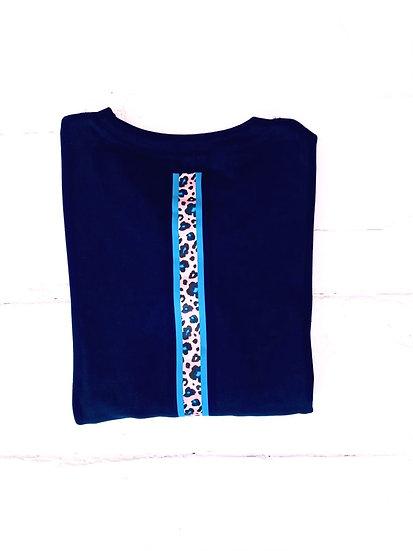 Soft Organic Navy Sweatshirt Neon Stripe