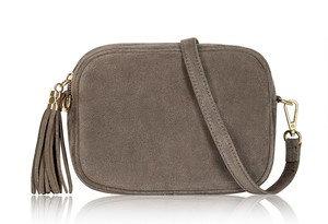 Dark Taupe Soft Suede Tassel Bag