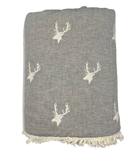 Grey Stag Super Soft Cotton Fleece Lined Throw