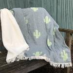 Cactus Denim Super Soft Cotton Fleece Lined Throw