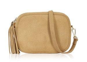 Camel Soft Suede Tassel Bag