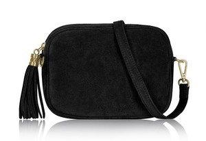 Classic Black Soft Suede Tassel Bag