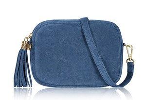 Denim Blue Soft Suede Tassel Bag