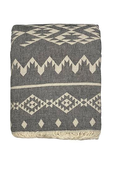 Charcoal Grey Dakota Soft Cotton Fleece Lined Throw