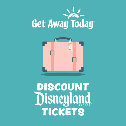 A suitcase advertising discount tickets for Disneyland.