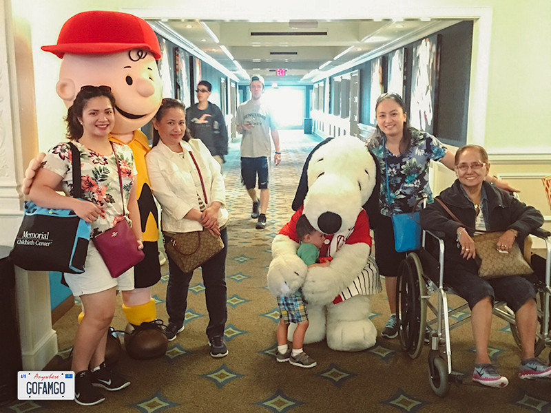 A family with Snoopy and Charlie Brown characters