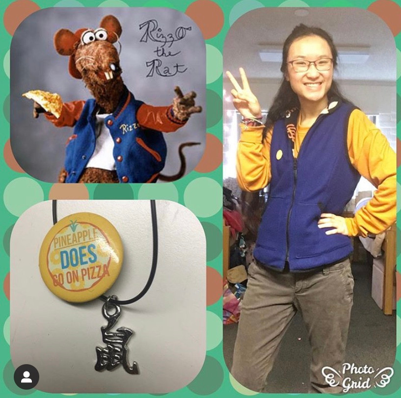 photo grid: pic on right girl wearning blue vest, yellow top and brown pants, top left pic of Rizzo The Rat, bottom left a necklace and pin