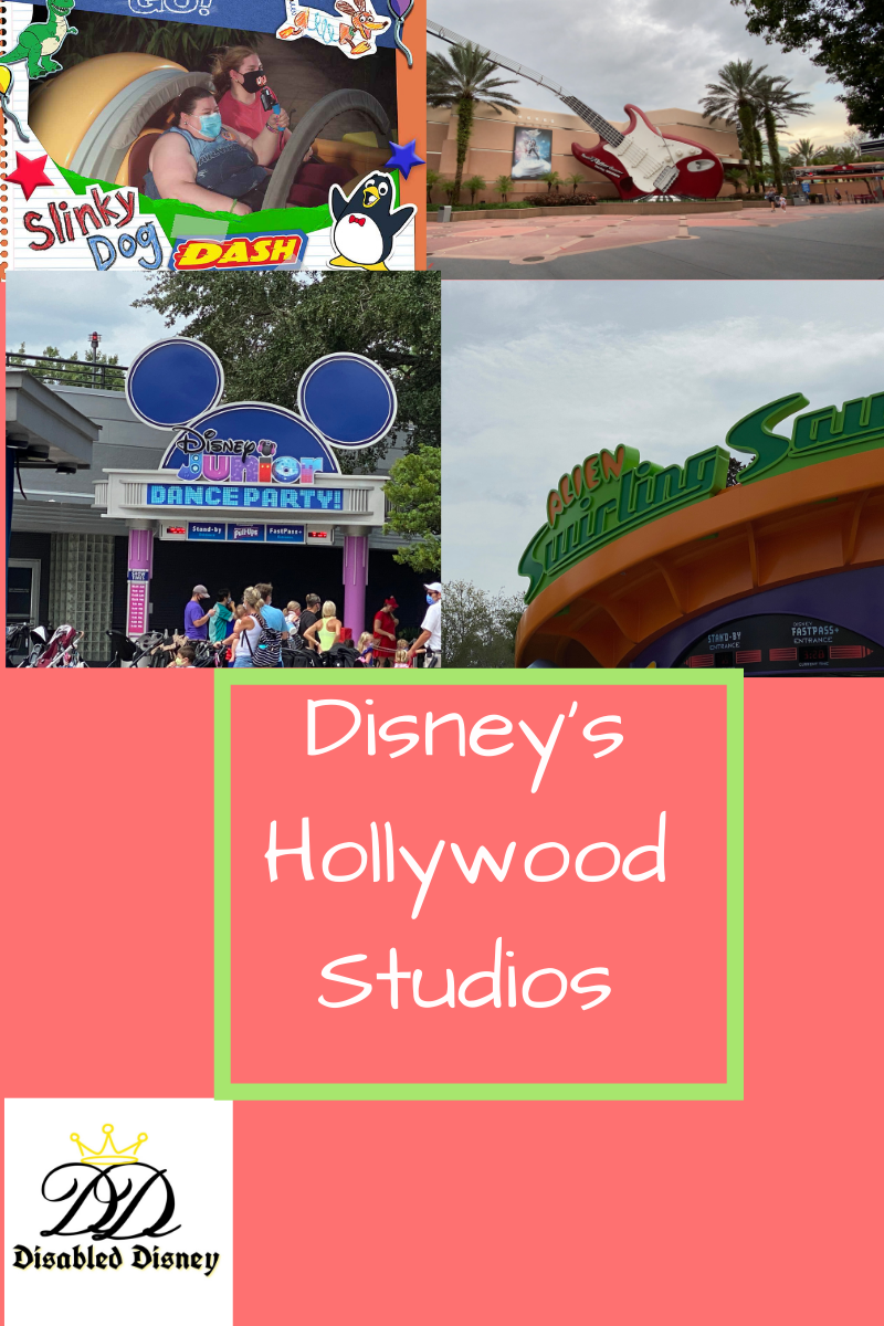 4 photos upper left is SLinky DOg Dash, upper right is Rock N Rollercoaster, lower left is Disney Jr Dance Party, lower right is Alien Swirling Saucers