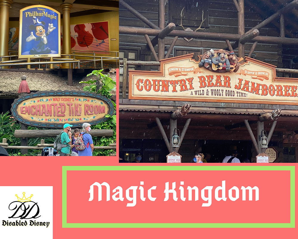 Photos of show signs attractions: Phillharmagc, Enchanted Tiki Room, Country Bear Jamboree