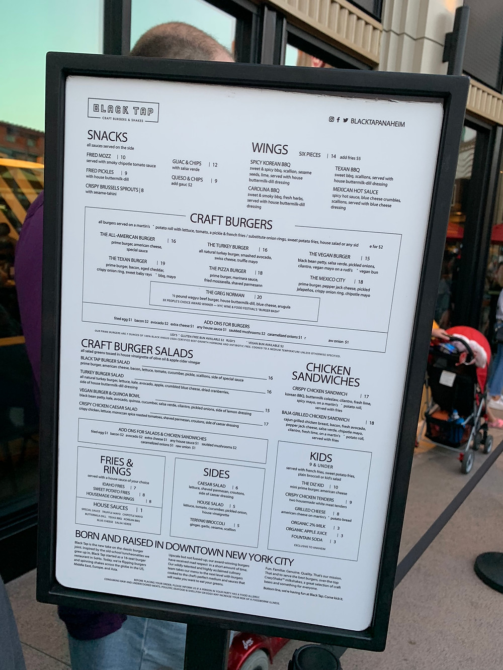 the menu from Black Tap in Anaheim, CA