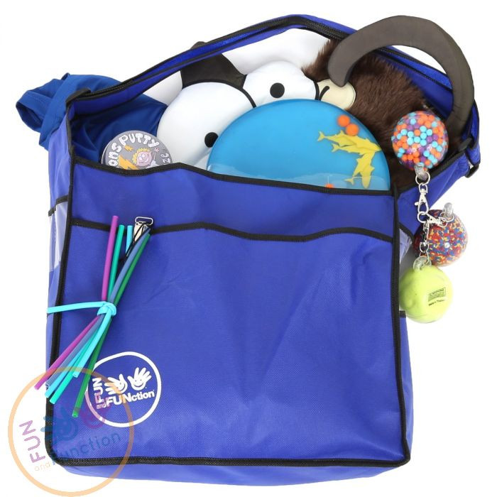 a blue bag and you can see several toys these are manual adaptive toys