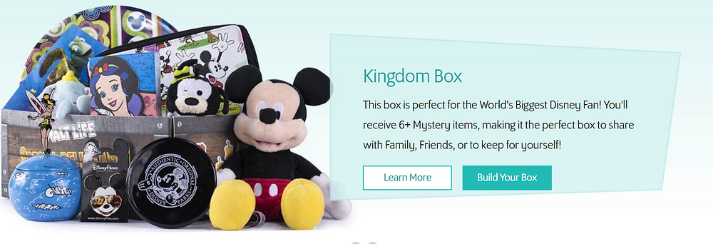 its a box from WaltLife with a Mickey doll, some Mickey themed items and and toys the words say: Kingdom Box This box is perfect for the World's Biggest Disney Fan! You'll recieve 6+ Mystery items, making it the perfect box to share with family, friends or to keep for yourself.