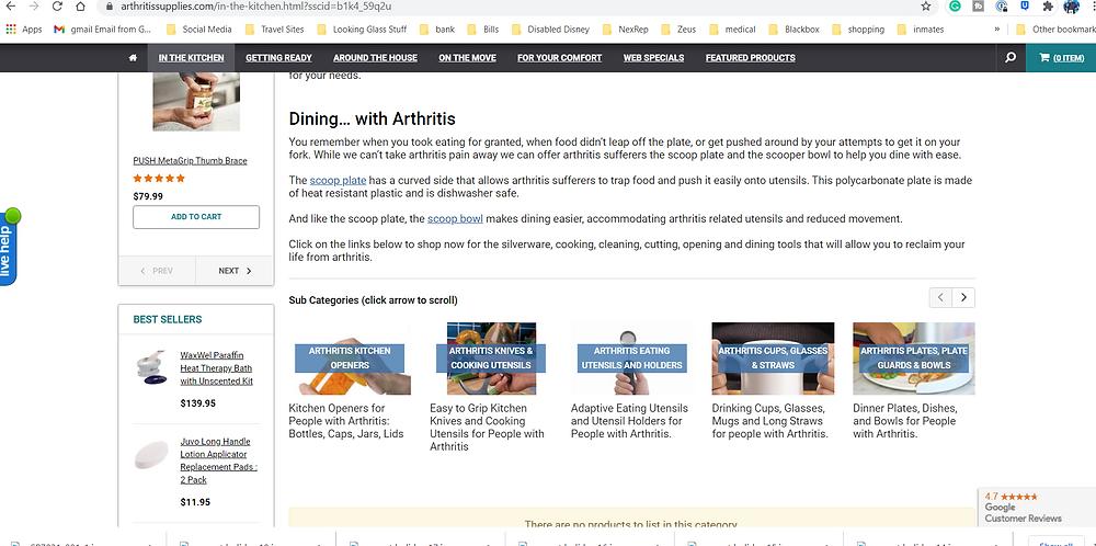 screen shot of arthritissupplies.com