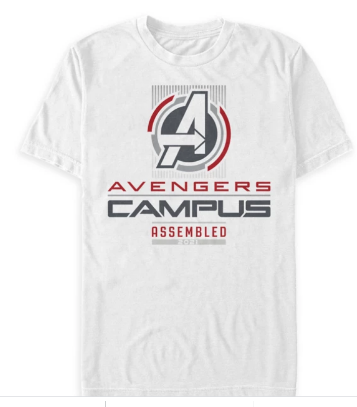 White shirt that says A (Avengers Logo) Avengers Campus Assembled
