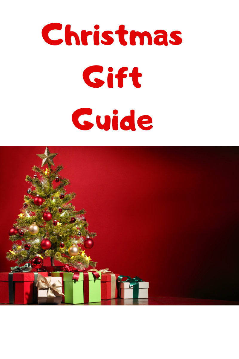 Says: Christmas Gift Guide photo is a Christmas tree and presents