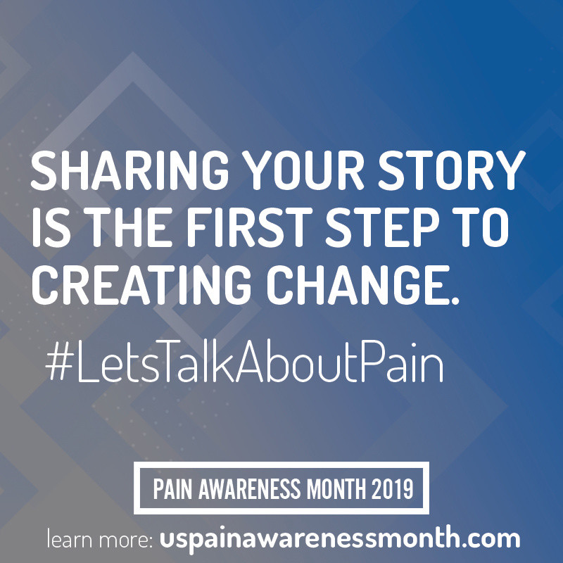 """Graphic that says """"sharing your story is the first step to creating change. #letstalkaboutpain Pain Awareness Month 2019"""